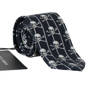 Dolce&Gabbana D229 Blue Silk Skull Striped Tie